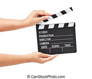 battant, film, main., ou, production, planche, ardoise blanche, pellicule