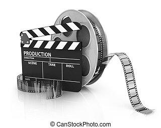 battant, -, vidéo, planche, pellicule, icône