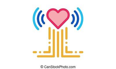 battement, coeur, animation, examen, icône