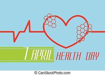 battement coeur, cardiogramme, mondiale, rouges, forme