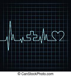 battement, coeur, faire, monde médical