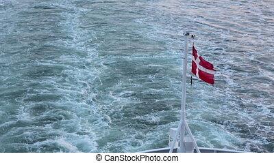 battement des gouvernes, danois, vent, bateau, drapeau