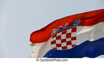 battement des gouvernes, drapeau, croatie, wind.