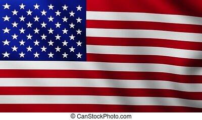 battement des gouvernes, vent, grand, drapeau, américain, fond