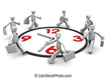 battement, homme affaires, time., course, groupe