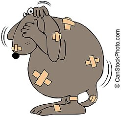 Battered dog - This illustration depicts a cowering dog...