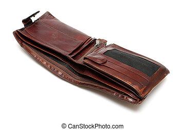 battered empty purse