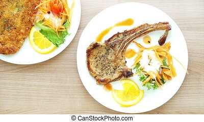 battered fish, pork chop steak
