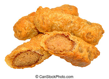 Battered Sausages - Crispy fried batter covered pork ...