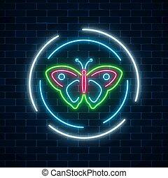 batterfly, coloridos, parede, primavera, sinal néon, escuro, experiência., glowing, voador, bordas, emblema, tijolo, redondo