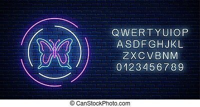 Batterfly glowing neon sign in round frames with alphabet. Spring flyer emblem in circle.