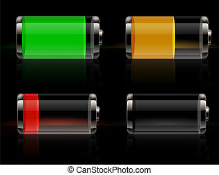 batteri, blanke, transparent, iconerne