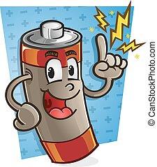batteri, cartoon, karakter