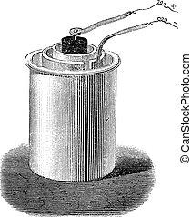 batteri, eller, cell, årgång, bunsen, engraving.