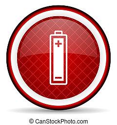 batteri, glatt, bakgrund, vit röd, ikon