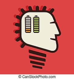 batteri, ind, menneske hovede