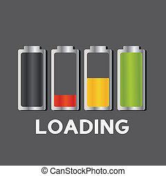 batteri, laddning, begrepp