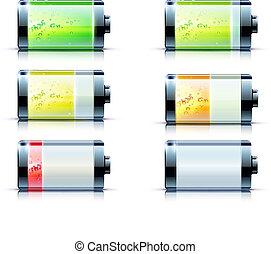 batteri, niveau, indikator