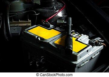 batteri vogn, inderside, den, automobilen