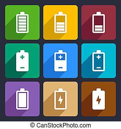 batteria, appartamento, icone, set, 22
