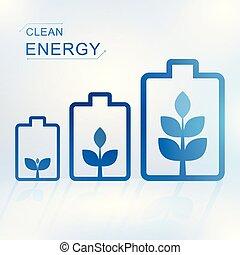 batteria, energia, concetto, pulito
