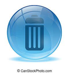 batteria, sfera, icona, 3d, vetro