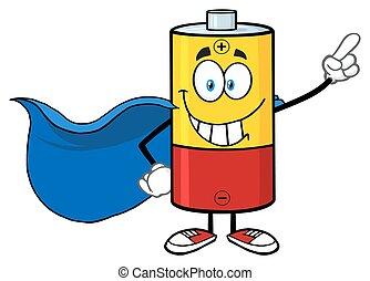 batteria, super, sorridente, eroe