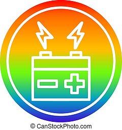 batterie, arc-en-ciel, spectre, circulaire