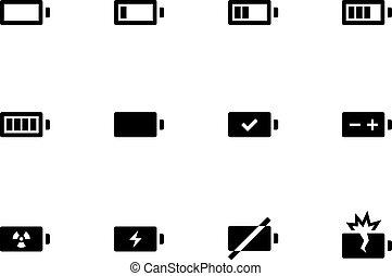 batterie, arrière-plan., blanc, icônes
