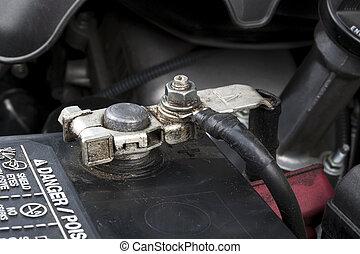 batterie, automobile, terminal