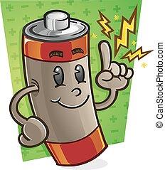 batterie, caractère, dessin animé