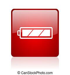batterie, carré rouge, lustré, toile, icône, blanc, fond