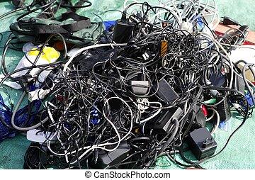 batterie, chargeur, fils, désordre, technologie