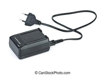 batterie, chargeur, inséré, lithium-ion