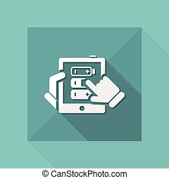 batterie, concept, tablette