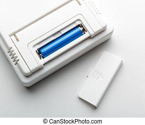 batterie, dans, les, douille