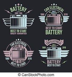 batterie, emblèmes, voiture, magasin