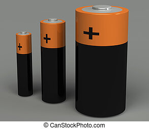 batterie, ensemble, 3d