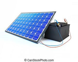 batterie, frais, panneau solaire