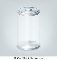 batterie, glas, leerer