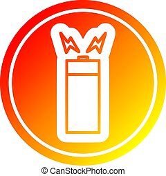 batterie, gradient, chaud, spectre, circulaire
