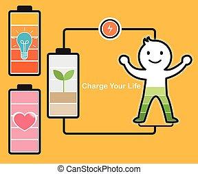 batterie, idée, charger