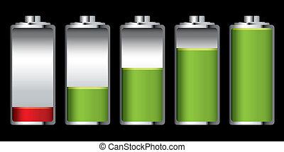 batterie, ladung, buehne