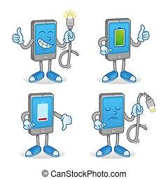 batterie, ladung, smartphone, satz