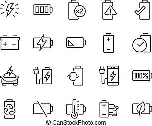 batterie, ligne, icônes