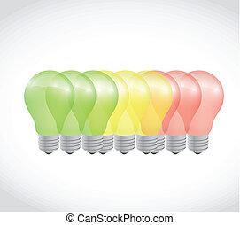 batterie, lumière, énergie, illustration, conception, ampoule