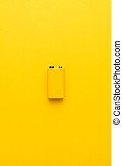 batterie, nine-volt, jaune