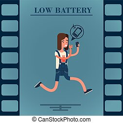 batterie, plat, girl, caractère, bas