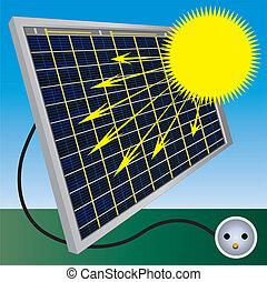 batterie, processus, solaire, illustration