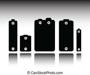 batterie, silhouettes, vecteur